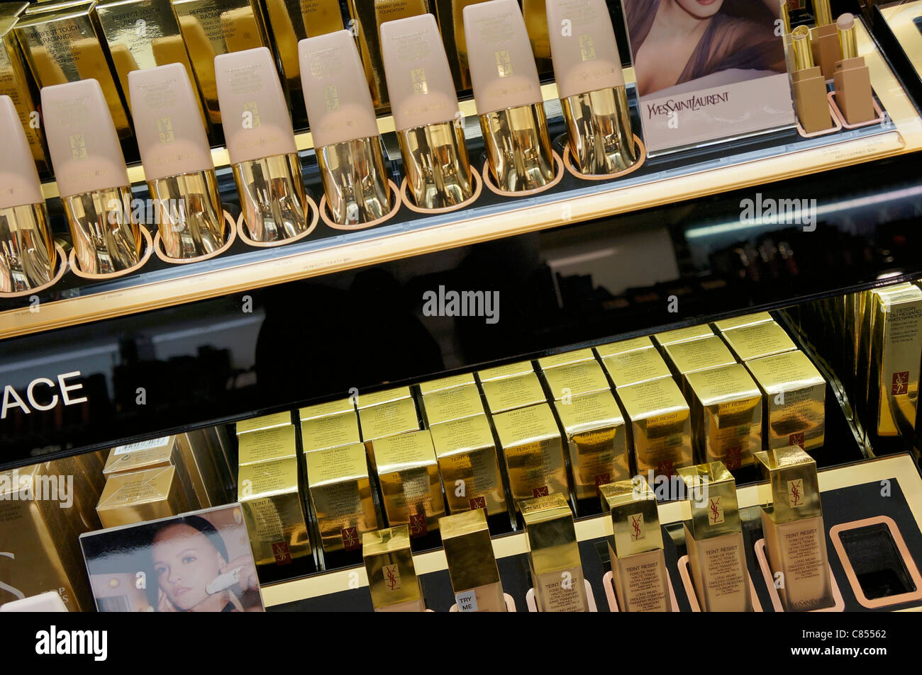 Cosmetics Display in a cosmetics shop - Stock Image