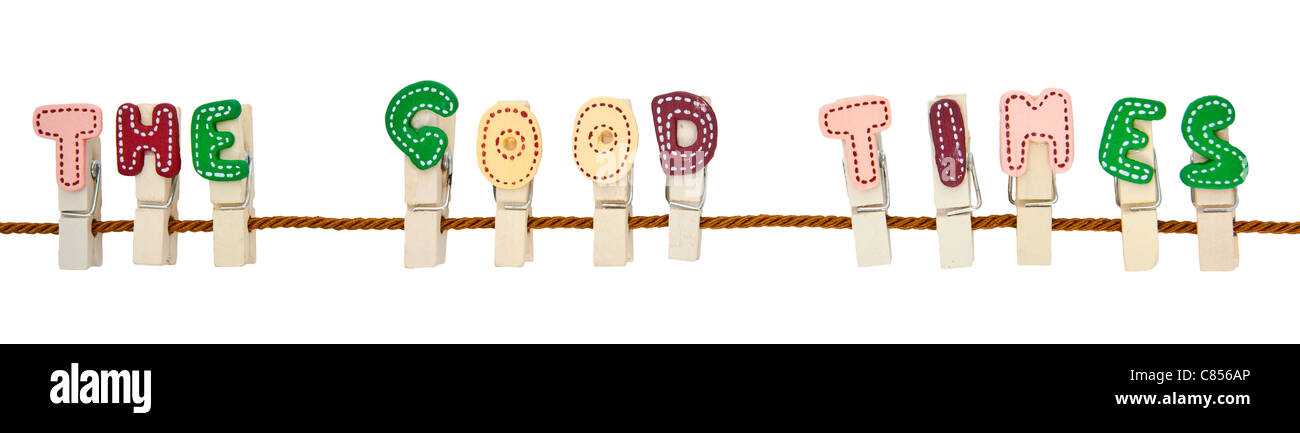 English alphabet wooden clip on the rope - Stock Image