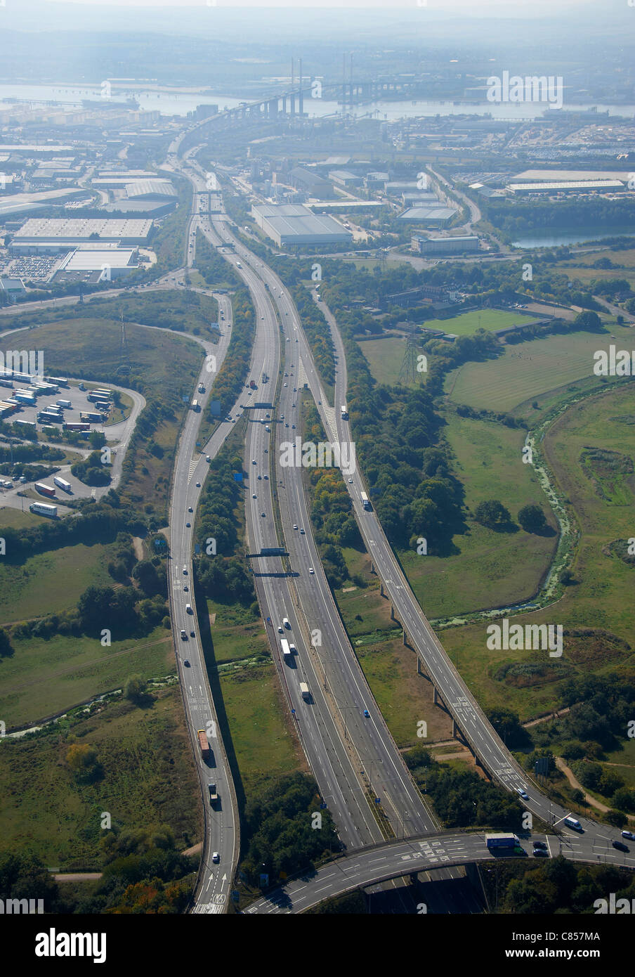 M25/A13 intersection, looking south to the Dartford Crossing, South East England, UK - Stock Image
