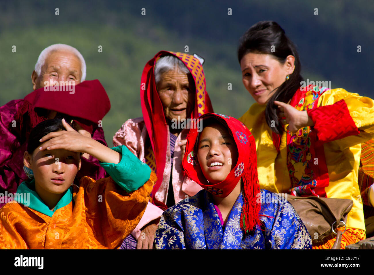 Colorful people of  Bhutan in colorful tradition clothes during Thimphu festival - Stock Image
