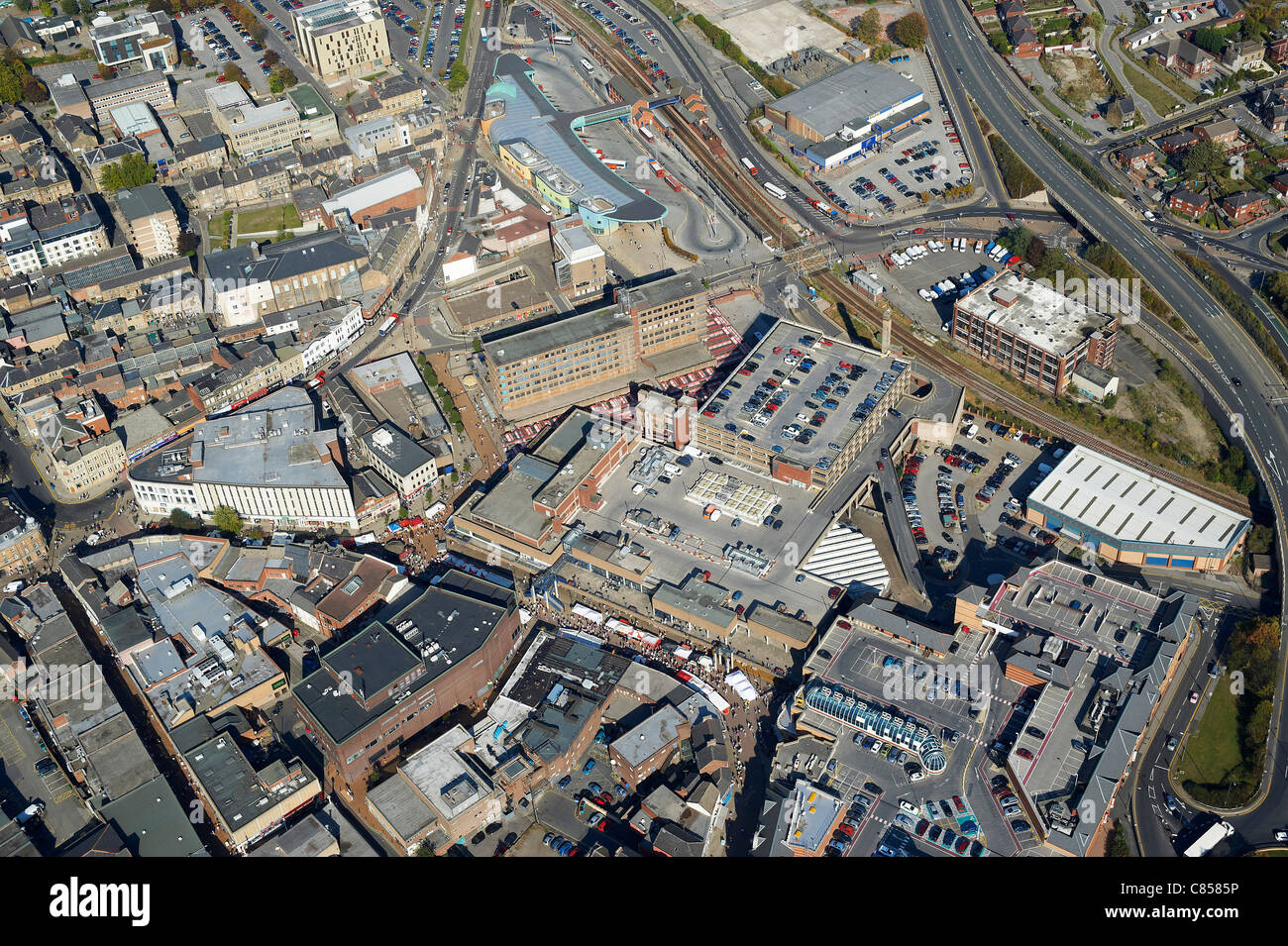 Barnsley Town Centre from the air, South Yorkshire, Northern England - Stock Image