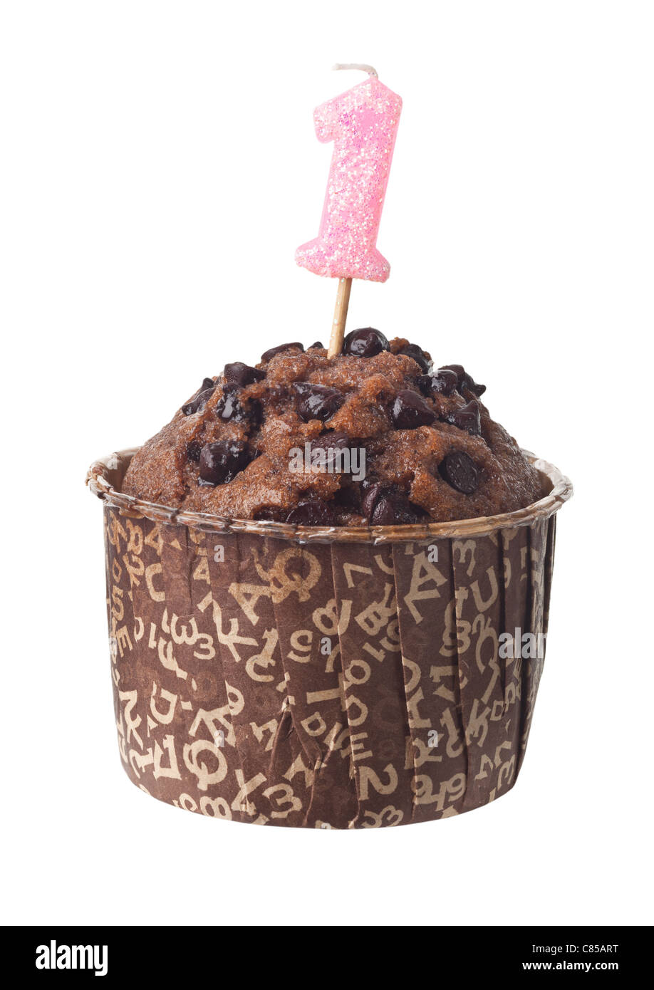 Chocolate Muffin With Birthday Candle For One Year Old Isolated On White Background