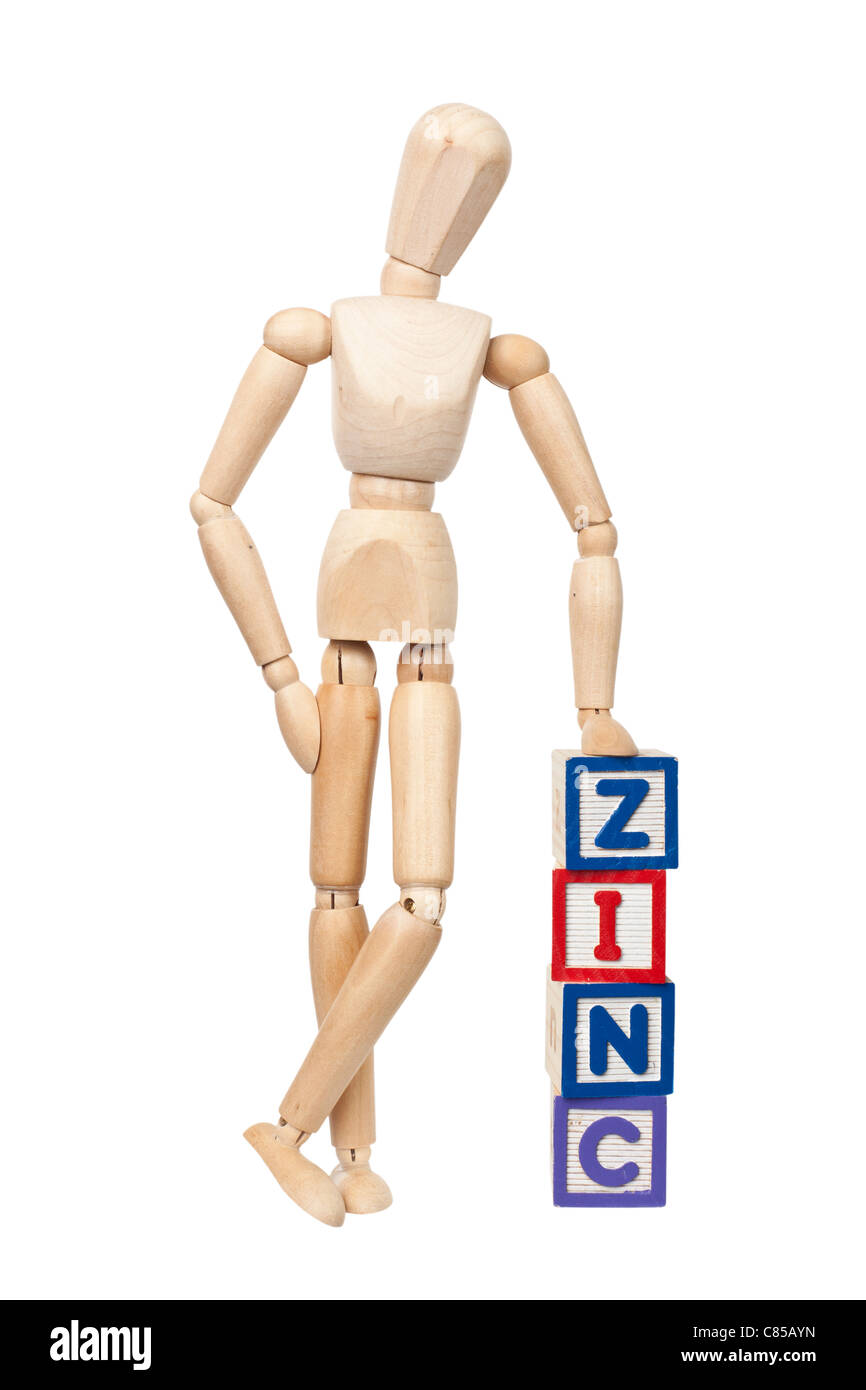Wooden figurine with the word ZINC isolated on white background - Stock Image