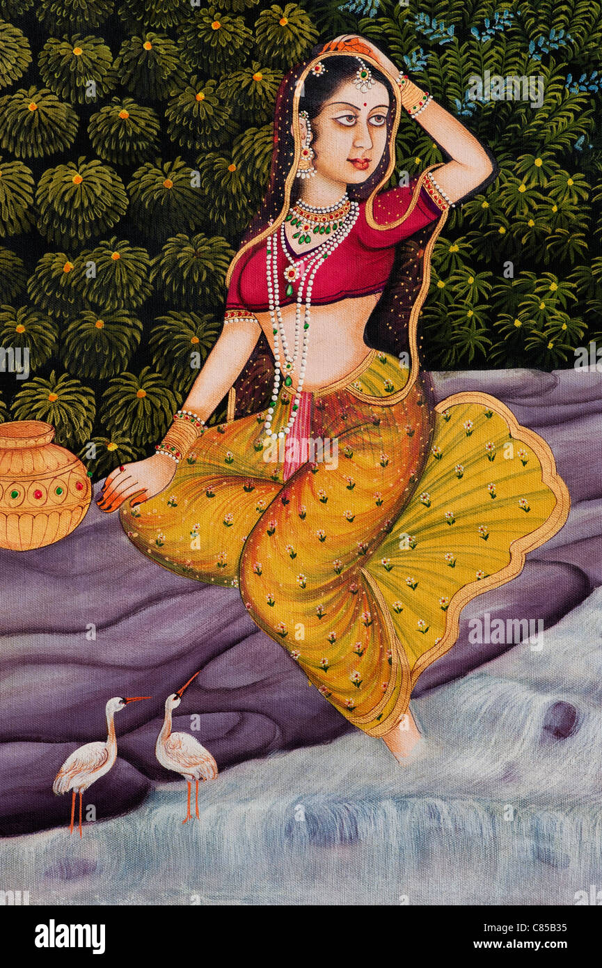Traditional Indian oil painting on canvas of an Indian woman Gopi - Stock Image