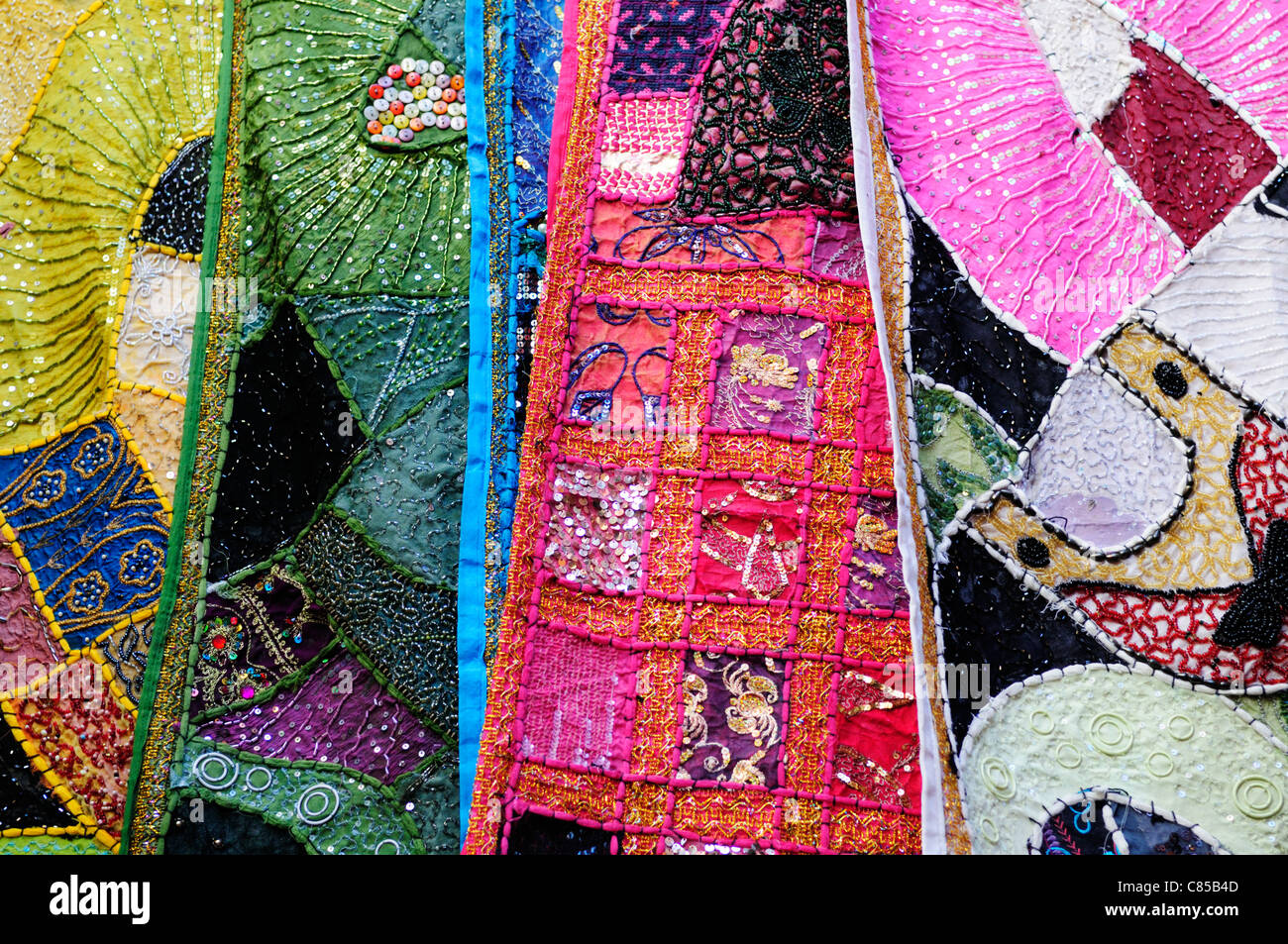 Textiles for sale in The Souq, Marrakech, Morocco - Stock Image