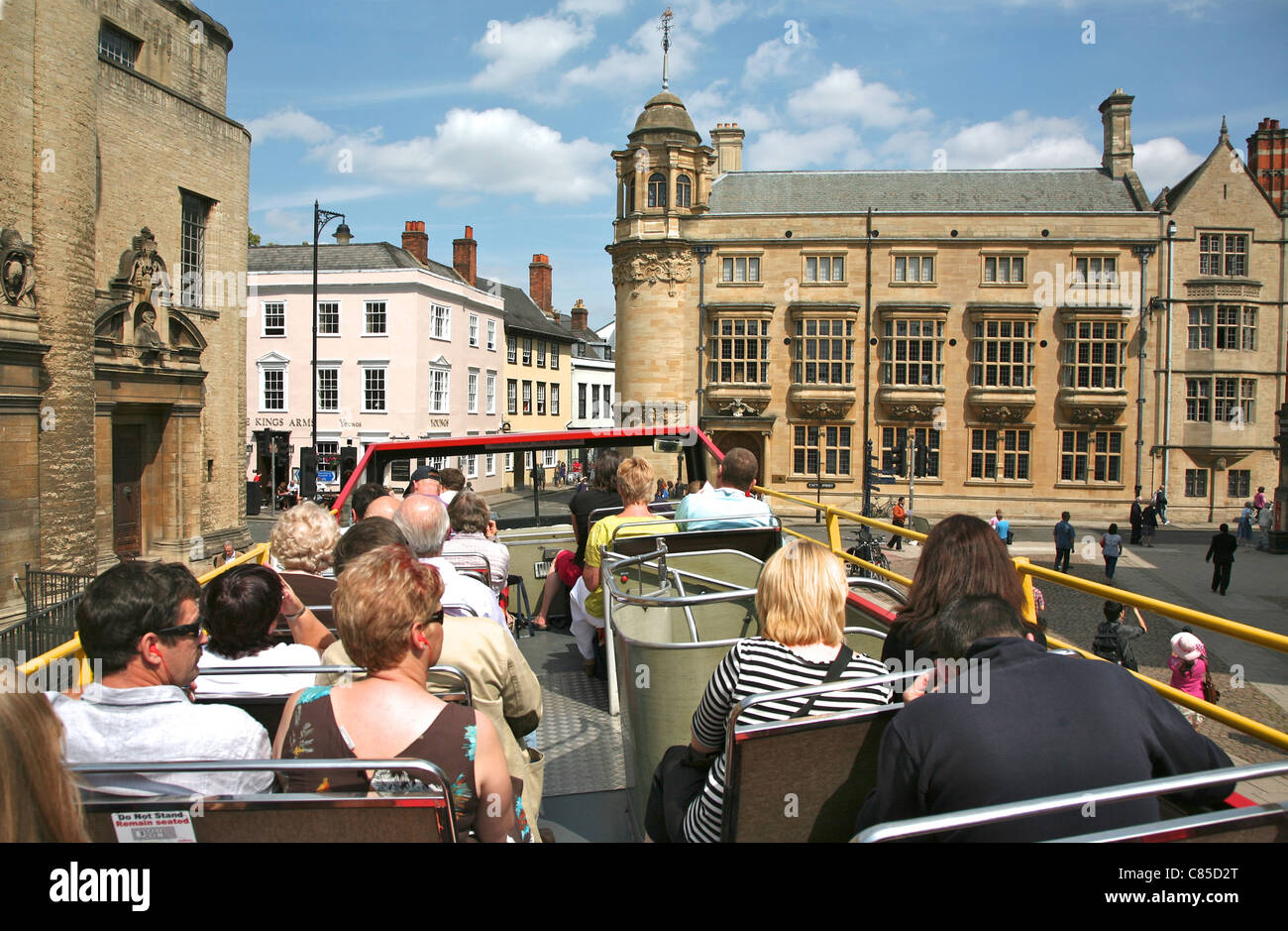 View from an open topped bus guided tour of central Oxford - Stock Image