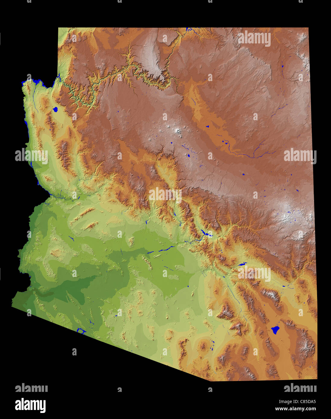 Shaded Relief Images of specific areas (generally by state) have been selected from the National Elevation Dataset. - Stock Image