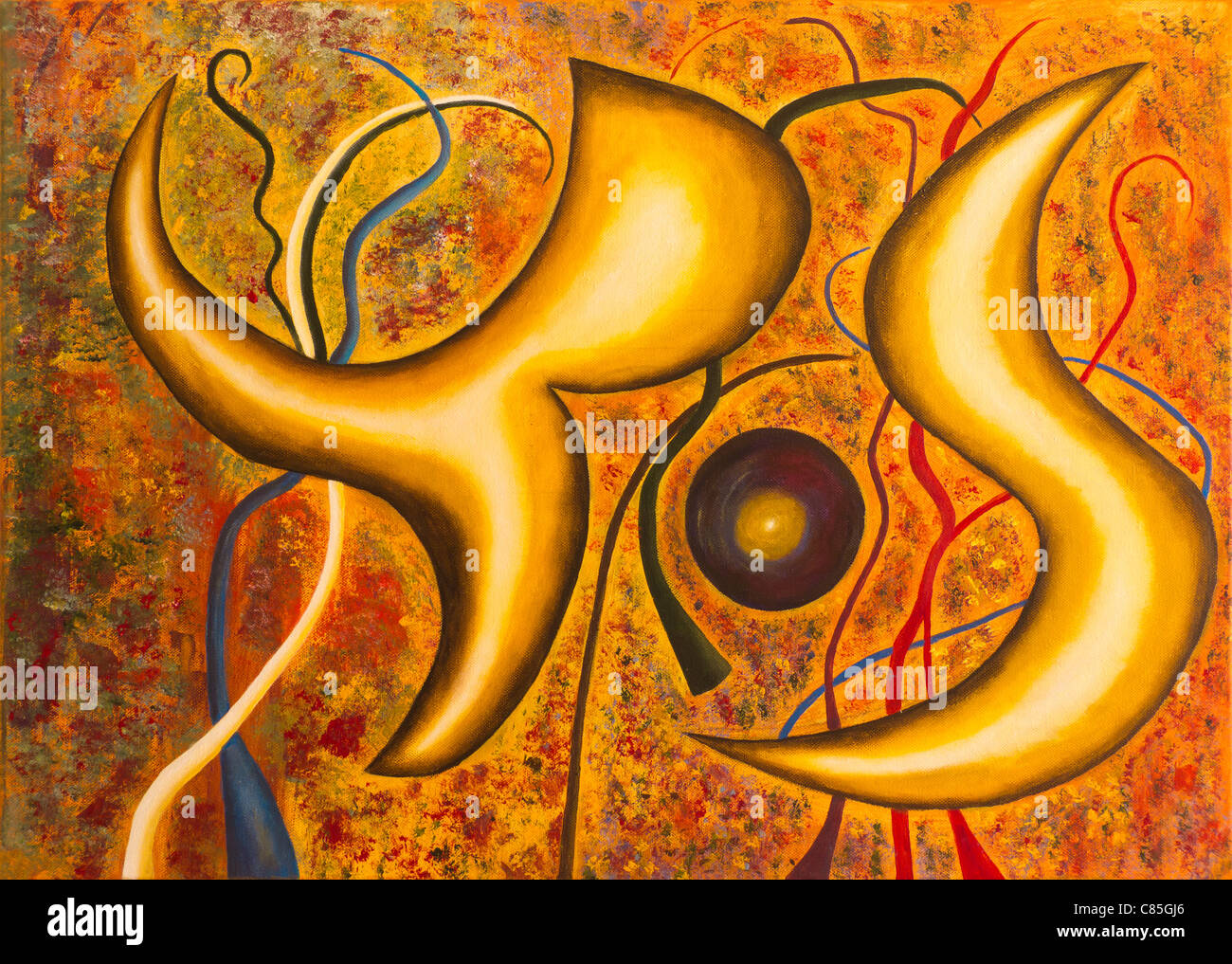 Lifeforms Abstract Acrylic Painting - Stock Image