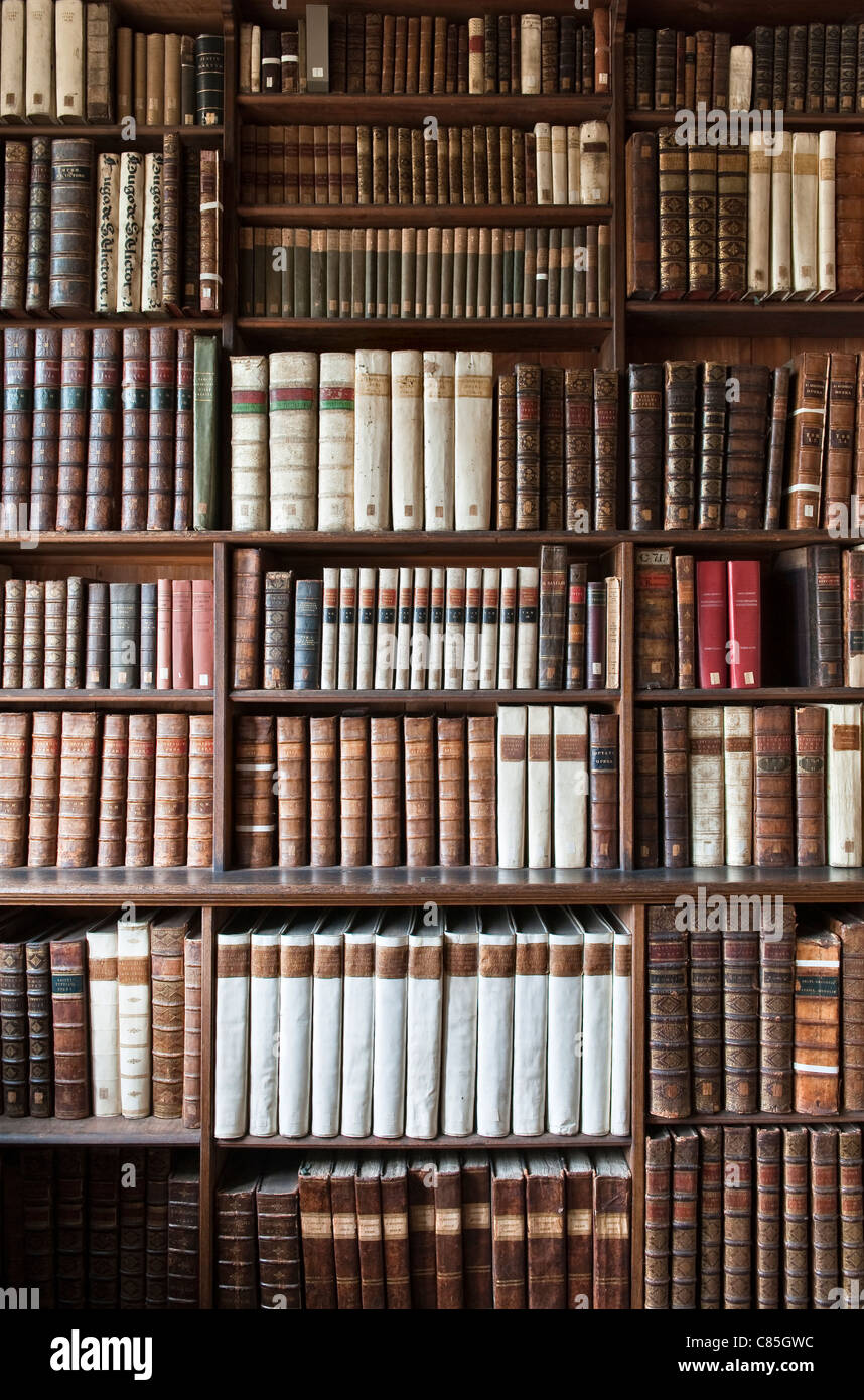 Theological books in an old library - Stock Image