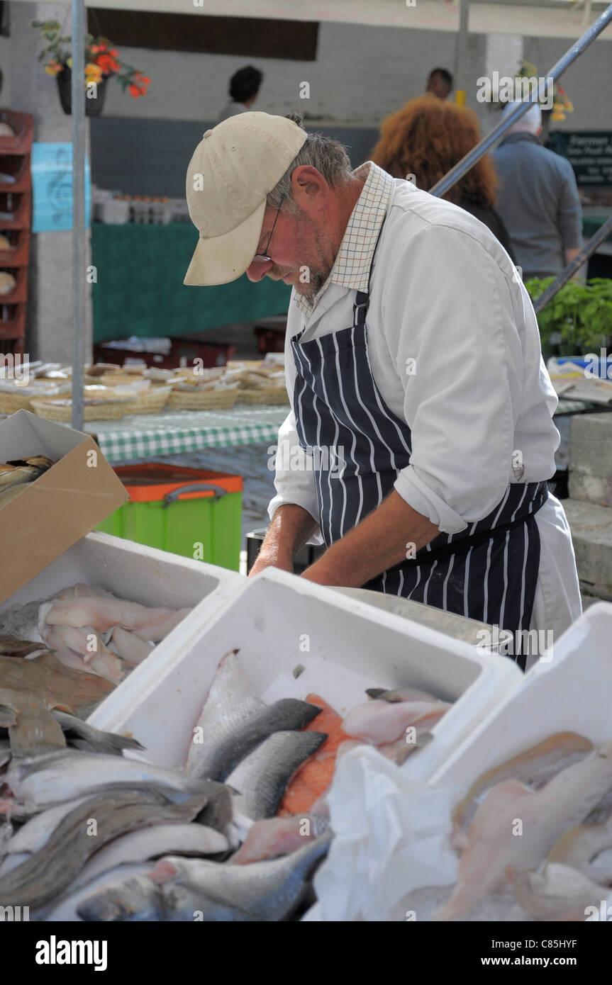 Fishmonger at farmer's market in Dartmouth Devon UK - Stock Image