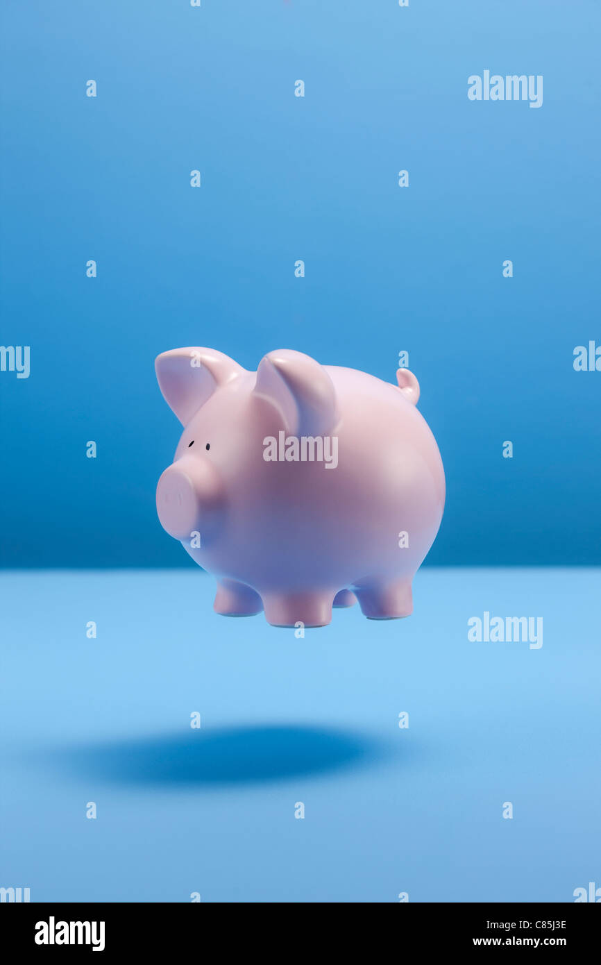 Piggy bank against blue background - Stock Image