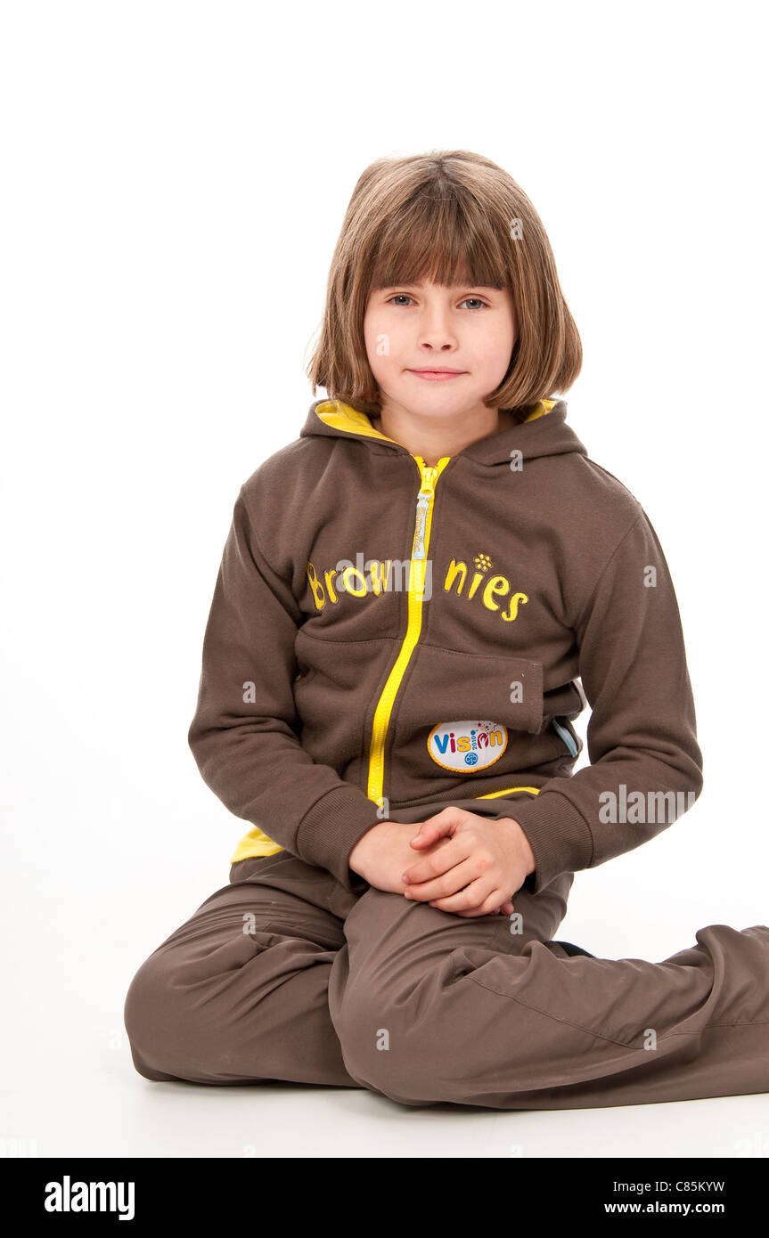 Young Girl in Her Brownie Uniform - Stock Image