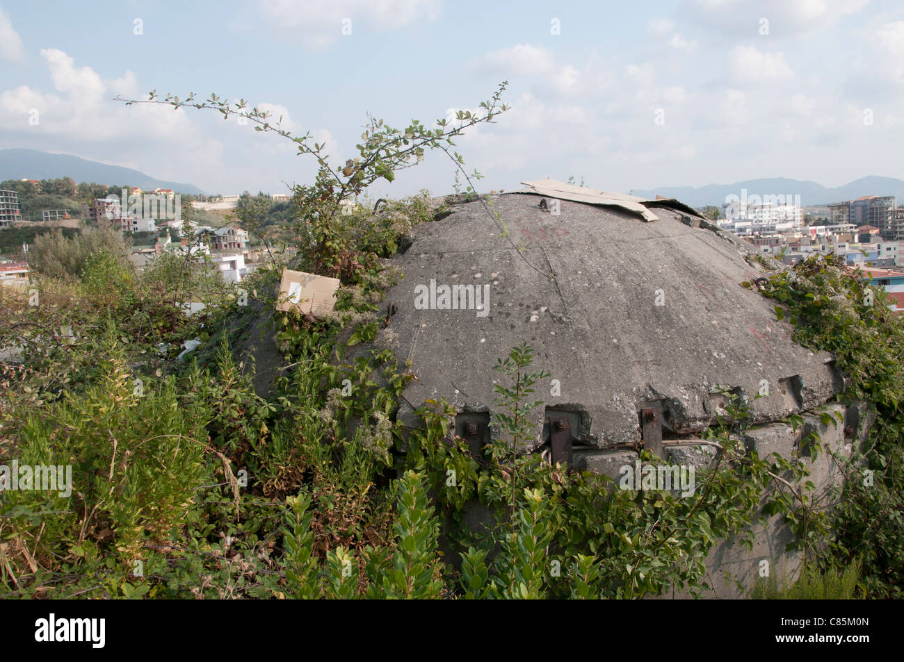One of the cement bomb shelters left over from Enver Hoxha's defense plan - Stock Image