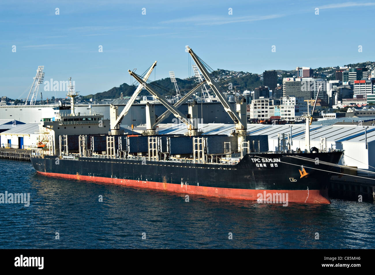 The Bulk Carrier Ship TPC Samjin now Called Diana Berthed at the Quayside in Wellington Port Nicholson Harbour New - Stock Image