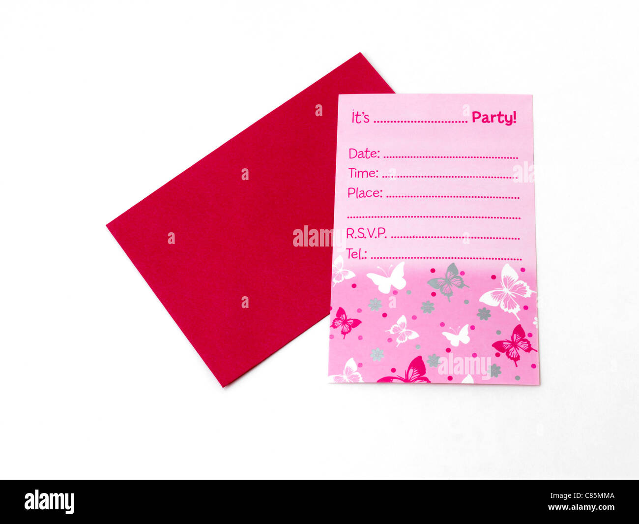 Pink Party Invitation With Red Envelope - Stock Image