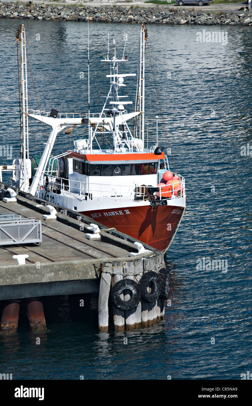 The Deep Sea Trawler Sea Hawke II Docked at Quayside in Picton Harbour South Island New Zealand - Stock Image