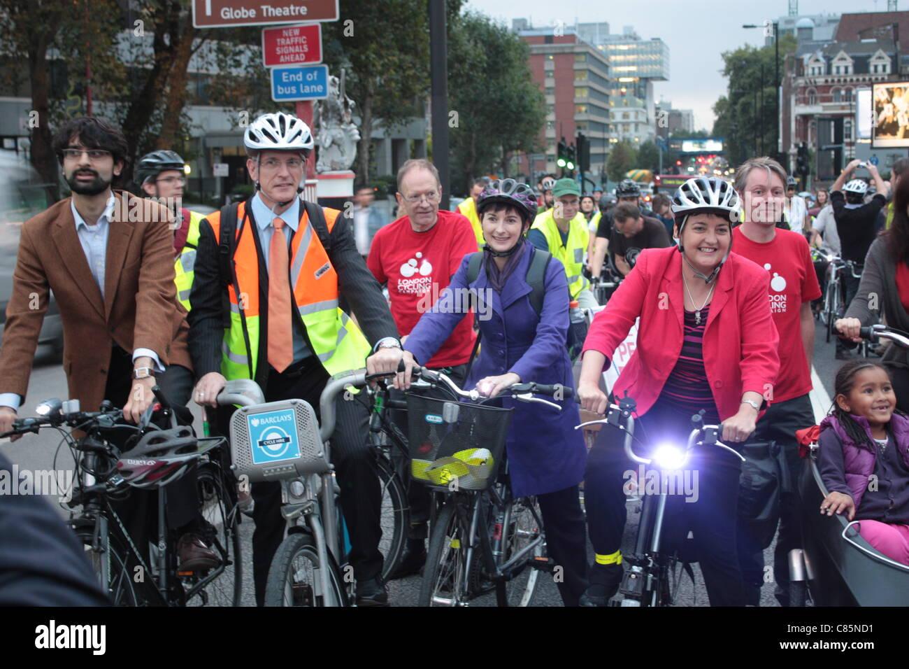LibDem mayoral candidate Brian Paddick, and London Assembly Members Caroline Pidgeon and Val Shawcross (Transport Stock Photo
