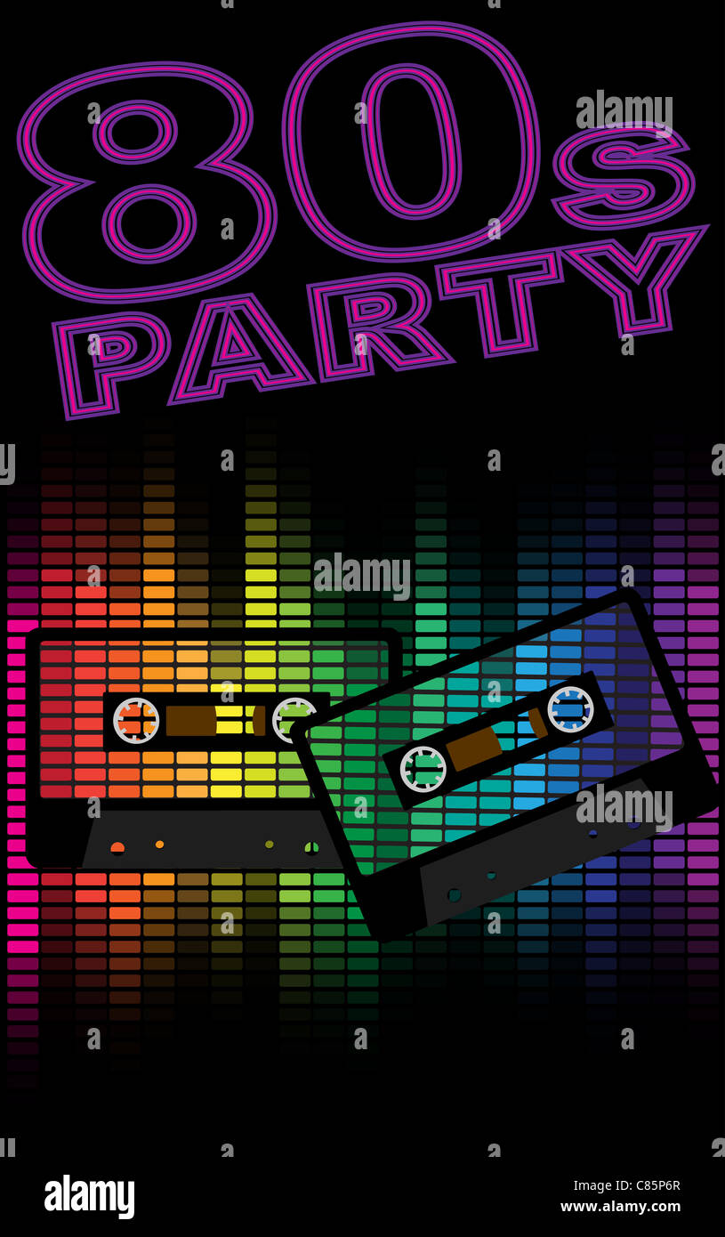 Retro Party Background - Retro Audio Cassette Tapes and Equalizer on Black Background - Stock Image
