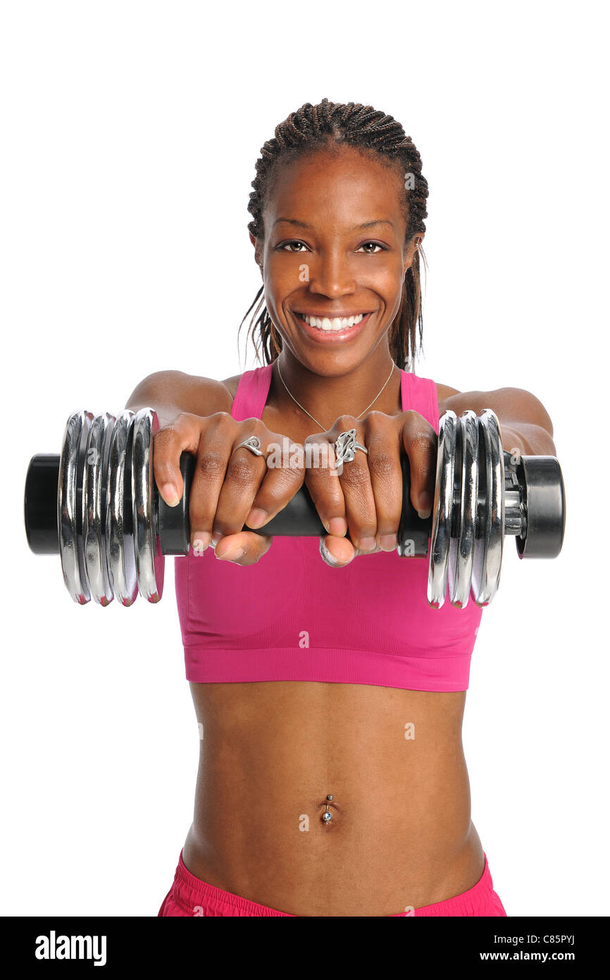 African American woman lifting dumbbell isolated over white background - Stock Image