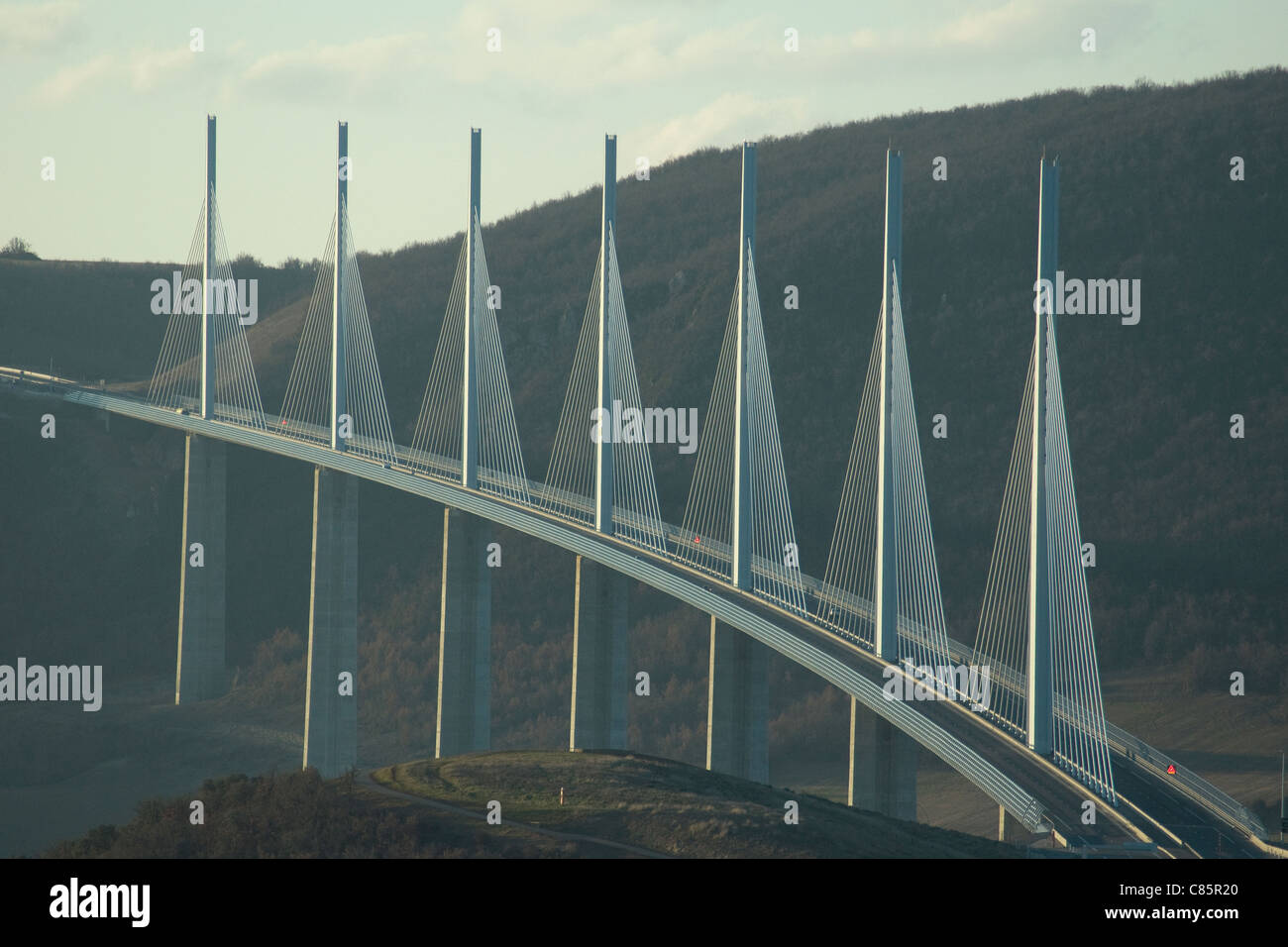 Millau viaduct over the Tarn river is the world's tallest bridge: a Norman Foster design, its masts and cables - Stock Image