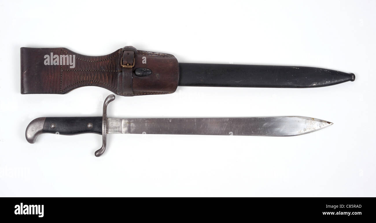 Argentine M1909 sidearm issued as a squad tool for cutting and chopping as well as a combat weapon. This type of - Stock Image