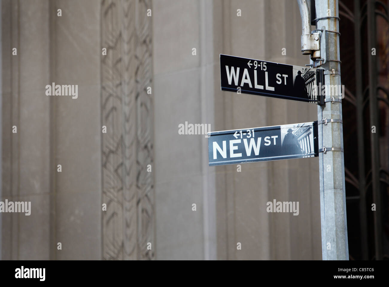 wall street street sign in New York City - Stock Image