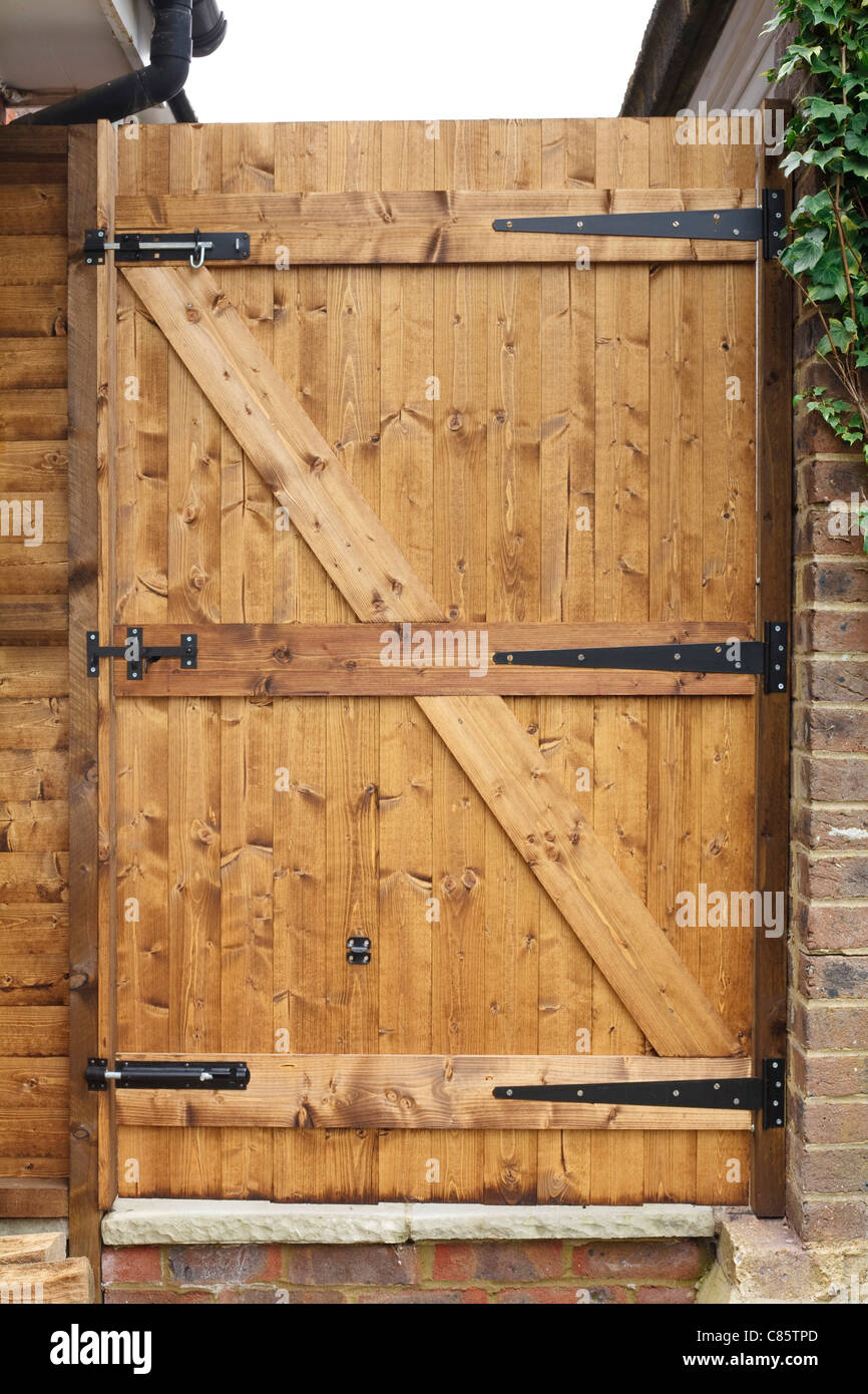 Tongue and groove exterior wooden garden door with cast iron hinges & Tongue and groove exterior wooden garden door with cast iron hinges ...