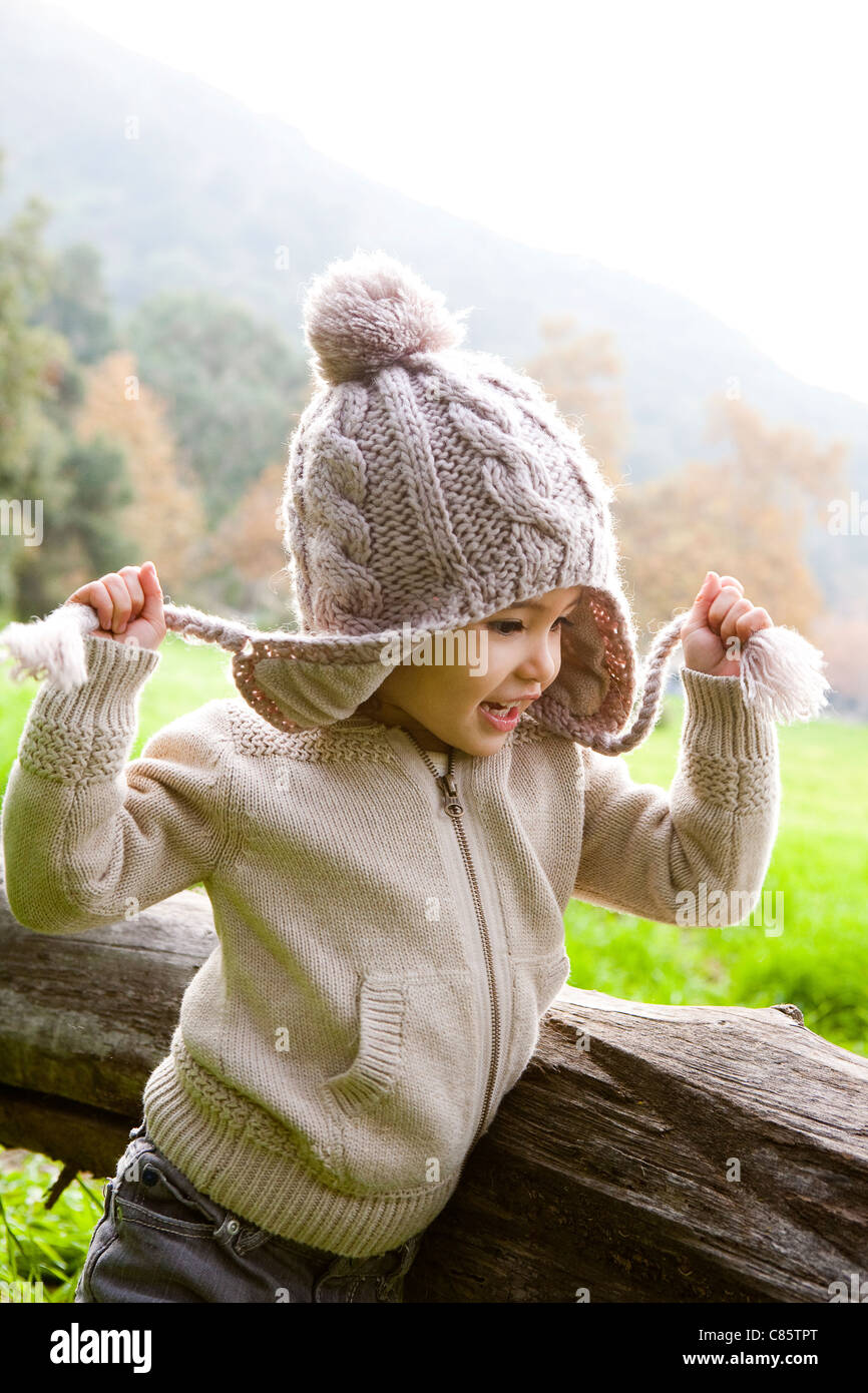 Little girl wearing a stocking cap - Stock Image