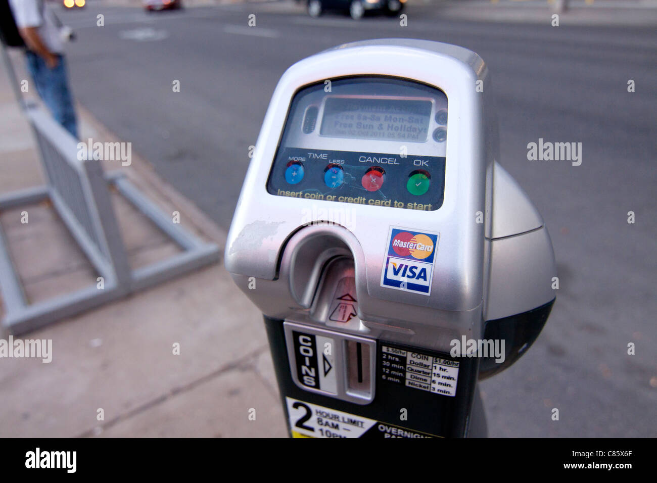 A parking meter in Denver Colorado that accepts credit cards in addition to coins. - Stock Image