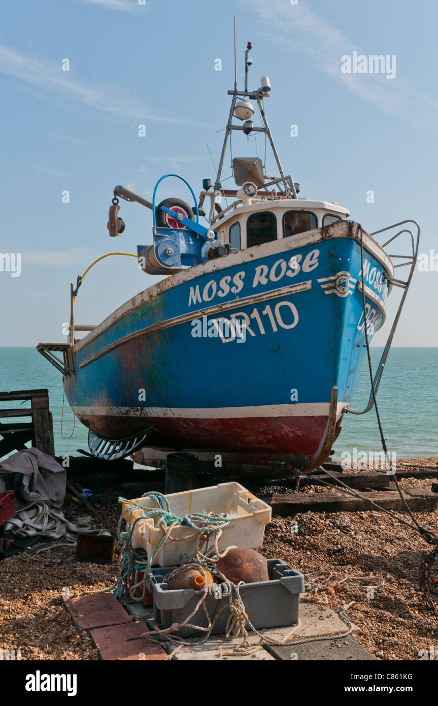Fishing boat on the beach at Deal, Kent, United Kingdom - Stock Image