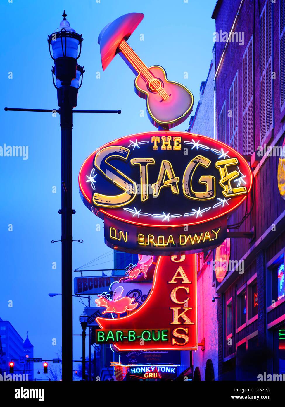 Stage Live music venue Lower Broadway Nashville - Stock Image