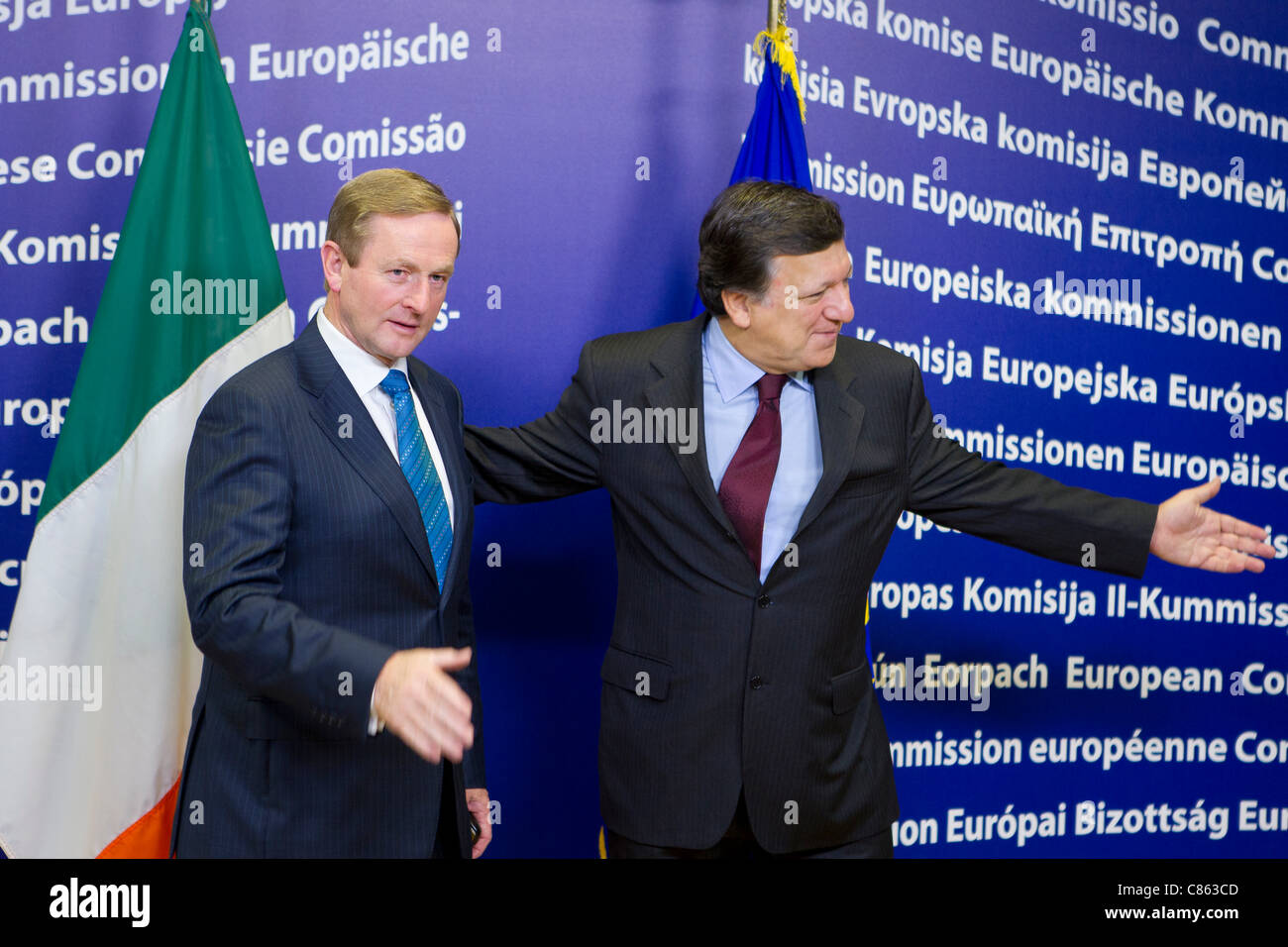 13.10.2011 - Prime Minister of Ireland Enda Kenny meets with the President of the European Commission Jose Manuel - Stock Image