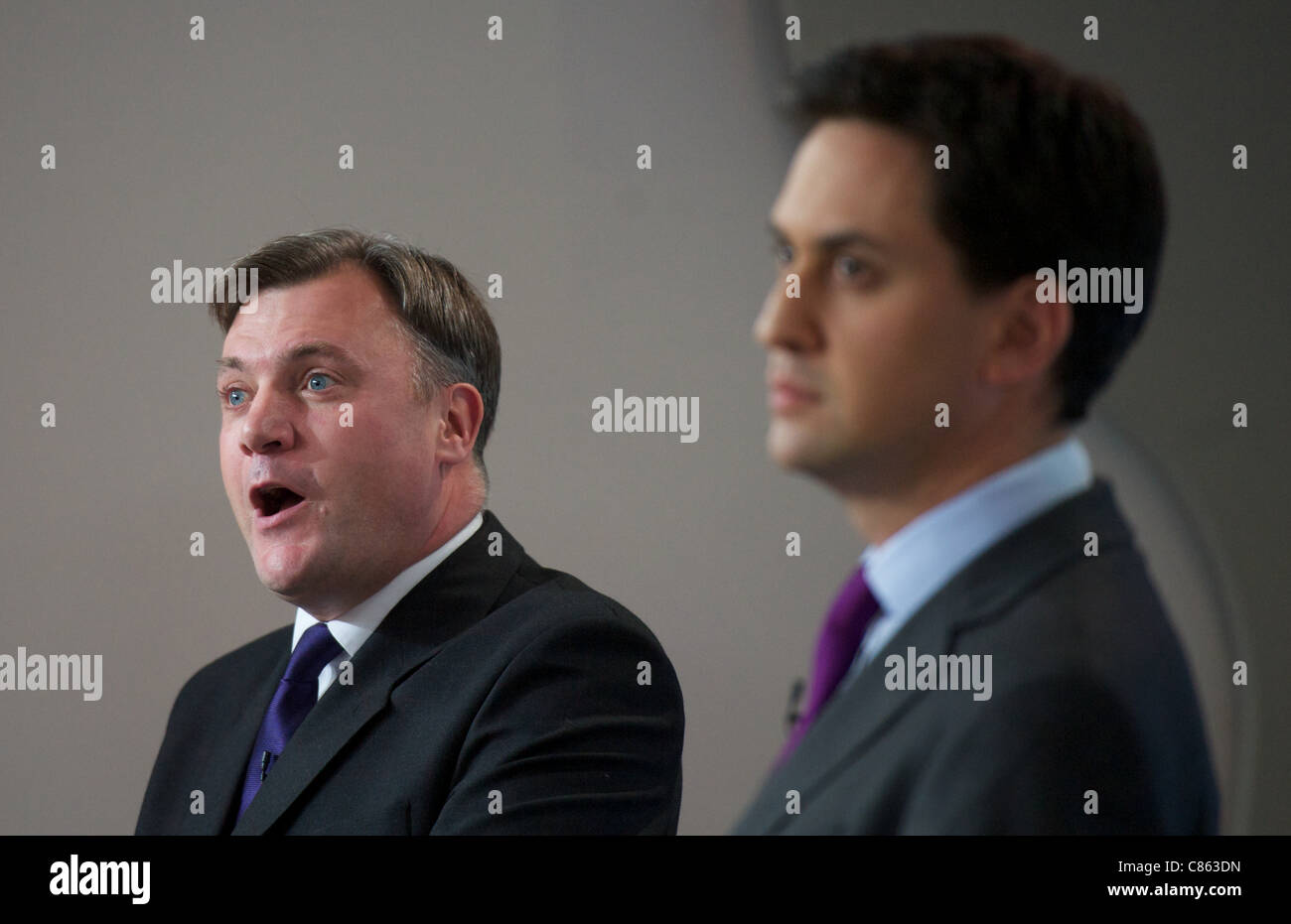 LONDON, UNITED KINGDOM 13 OCTOBER : Leader of the Labour party Ed Miliband and Shadow Chancellor Ed Balls speak - Stock Image