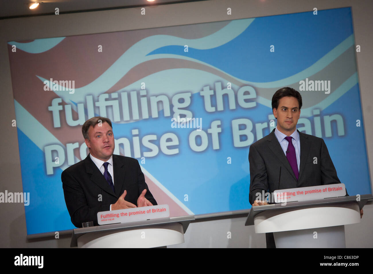 LONDON, UNITED KINGDOM 13 OCTOBER. Leader of the Labour party Ed Miliband and Shadow Chancellor Ed Balls speak at - Stock Image