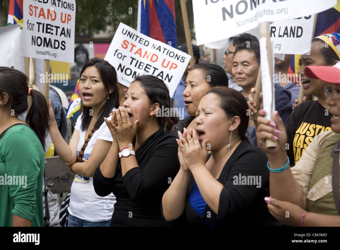 Protest rally at the UN in NYC to bring to light the harsh treatment of Tibetan nomads by the Chinese Government. - Stock Image