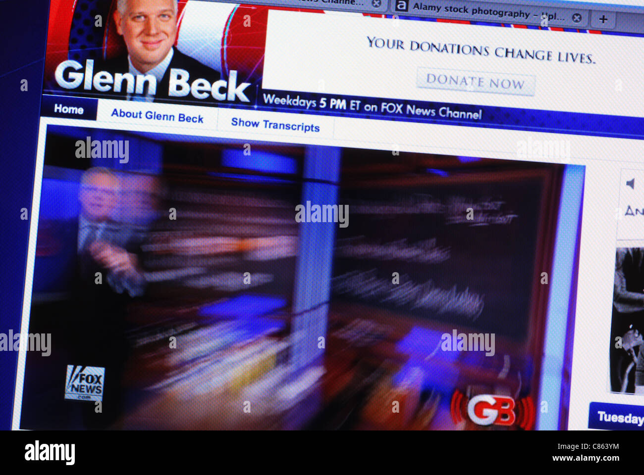Live streaming video of Glenn Beck's Foxnews show on his website - Stock Image
