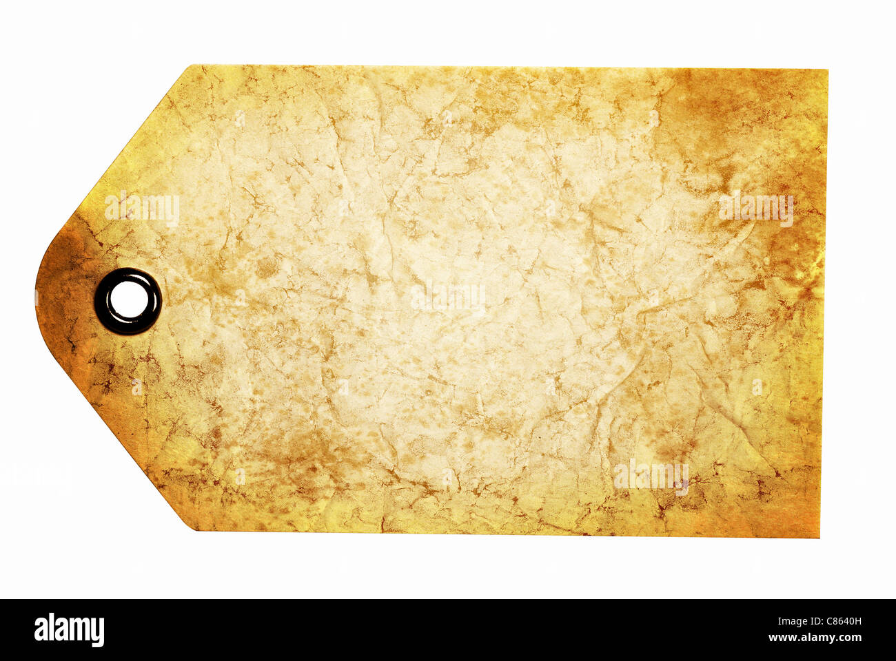 Blank antiqued beige gift tag isolated on a white background with clipping path - Stock Image