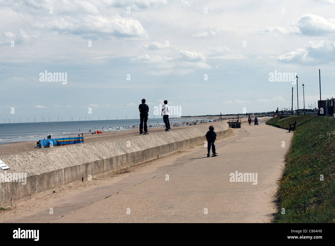 The beach at Sutton-on-Sea Mablethorpe to Sutton on Sea cycleway - Stock Image