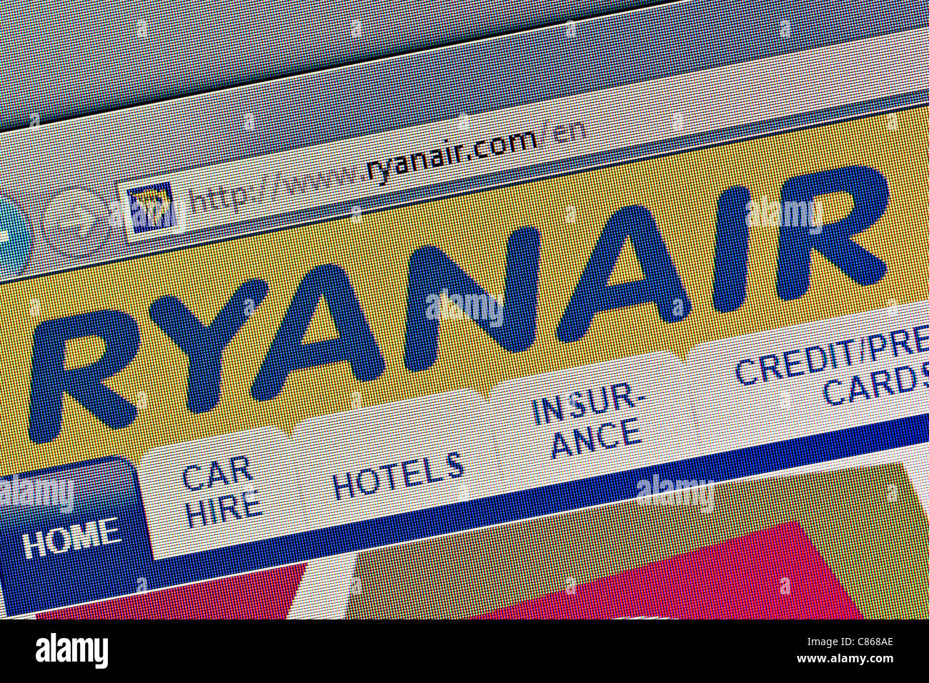 RyanAir logo and website close up - Stock Image
