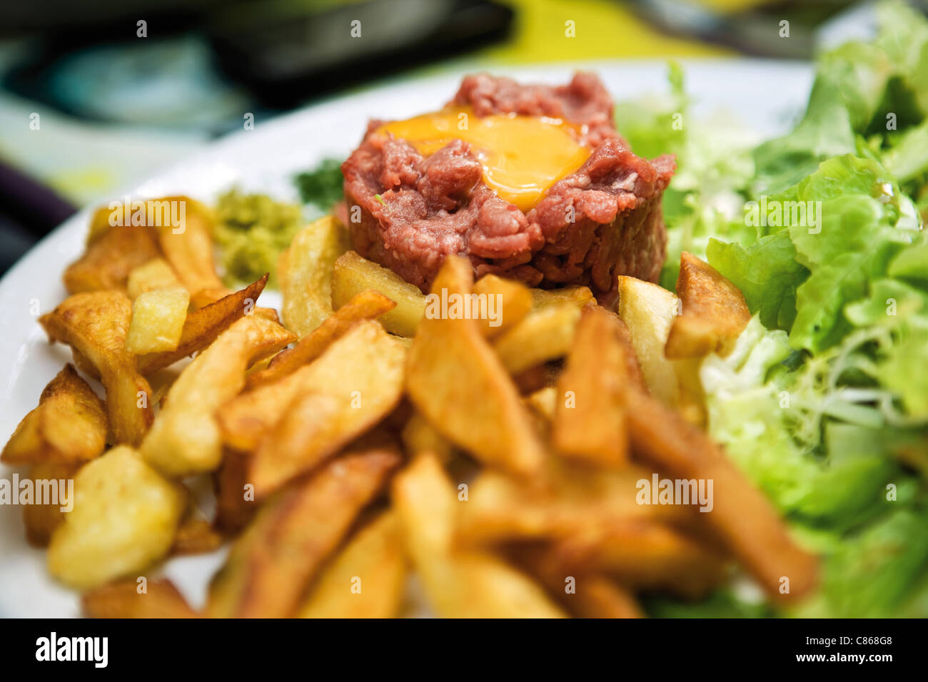Steak tartare and french fries - Stock Image
