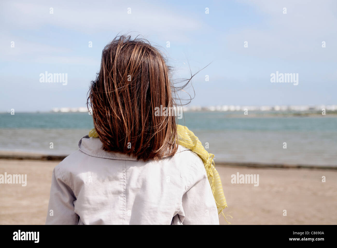 Girl looking at ocean, rear view - Stock Image