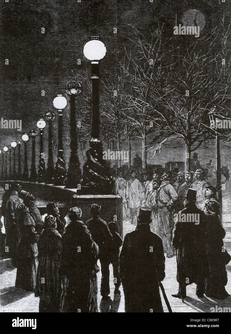 THAMES EMBANKMENT is lit by electricity for the first time in 1879 - Stock Image
