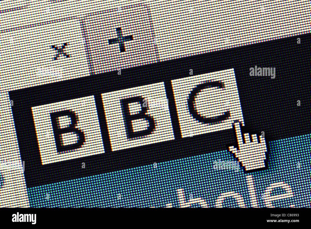 BBC logo and website close up - Stock Image