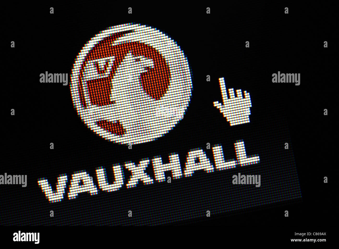 Vauxhall cars logo and website close up - Stock Image