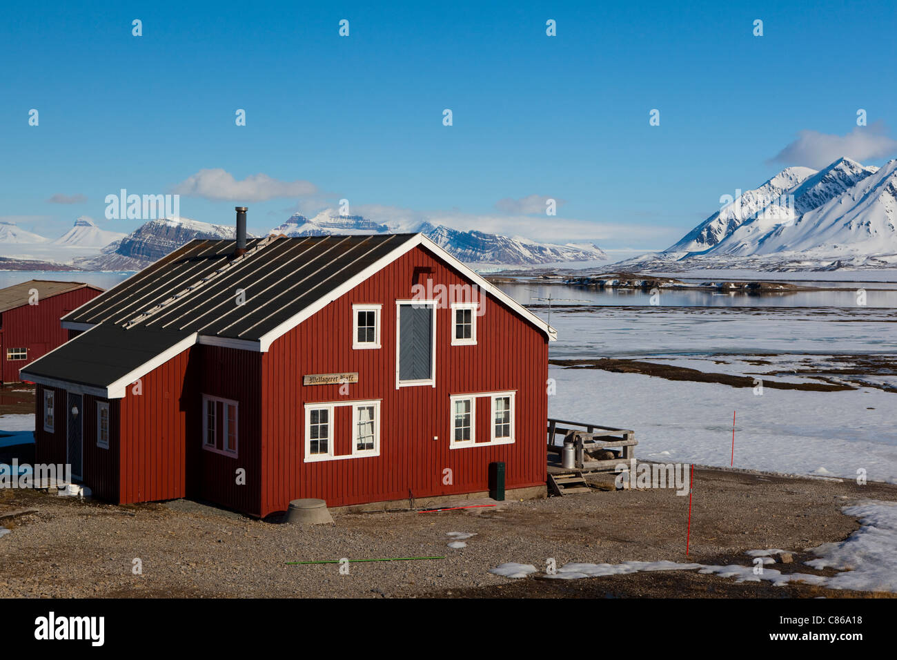 Mellageret Kafe, the bar at the international scientific research base of Ny Alesund, Svalbard. - Stock Image