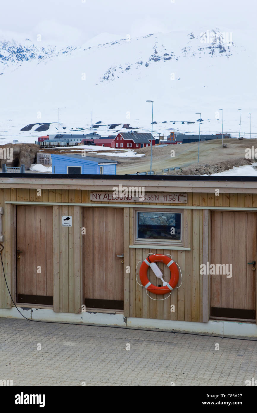 Sign marking on quayside 78 degrees 56 minutes north at the international scientific research base of Ny Alesund, Stock Photo