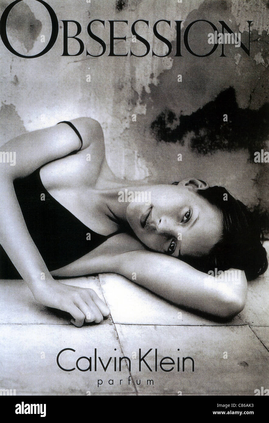 KATE MOSS English fashion model in a 1996 advert for the Obsession perfume by Calvin Klein - Stock Image