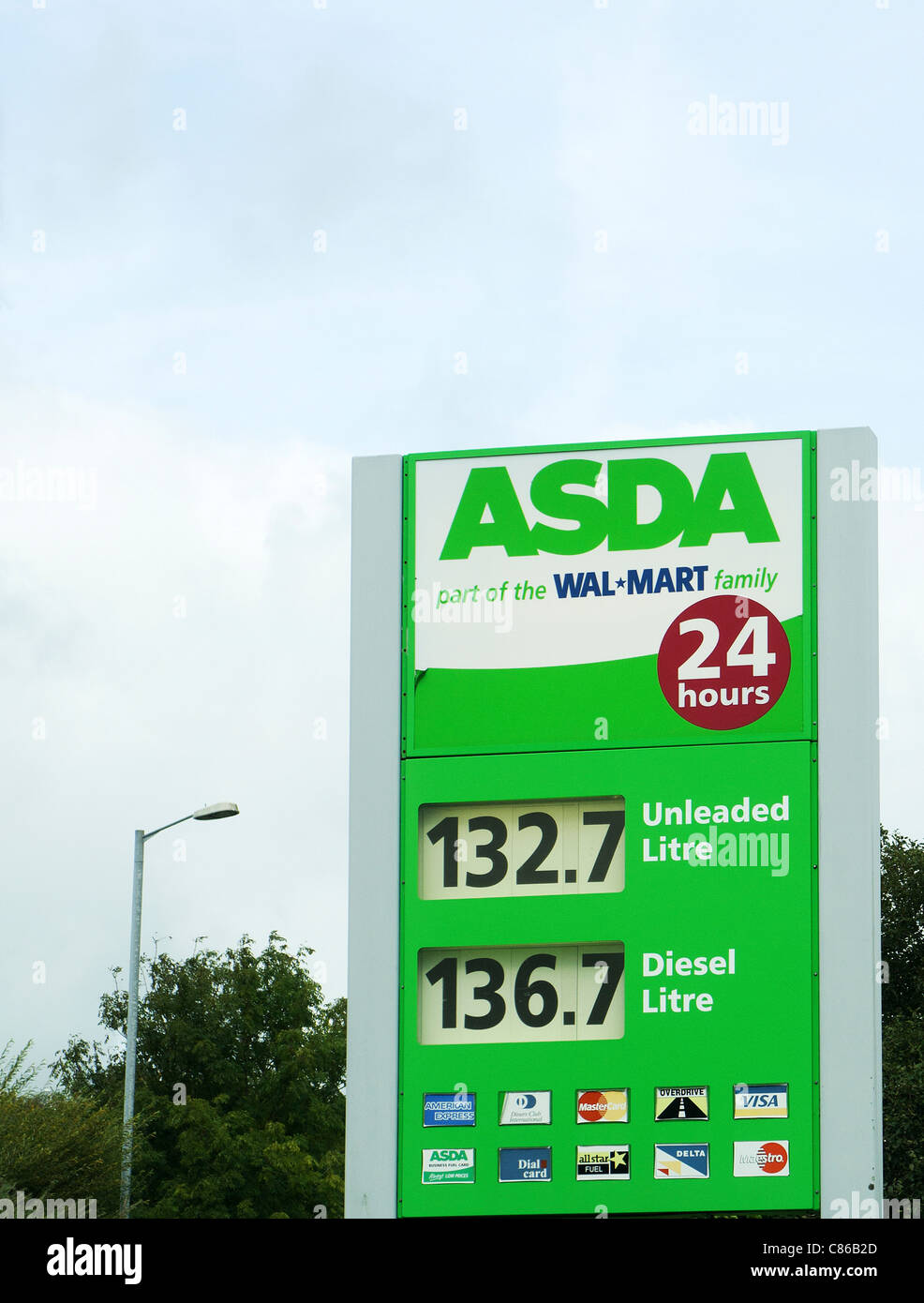 A fuel price sign at an asda store filling station, cornwall, uk - Stock Image