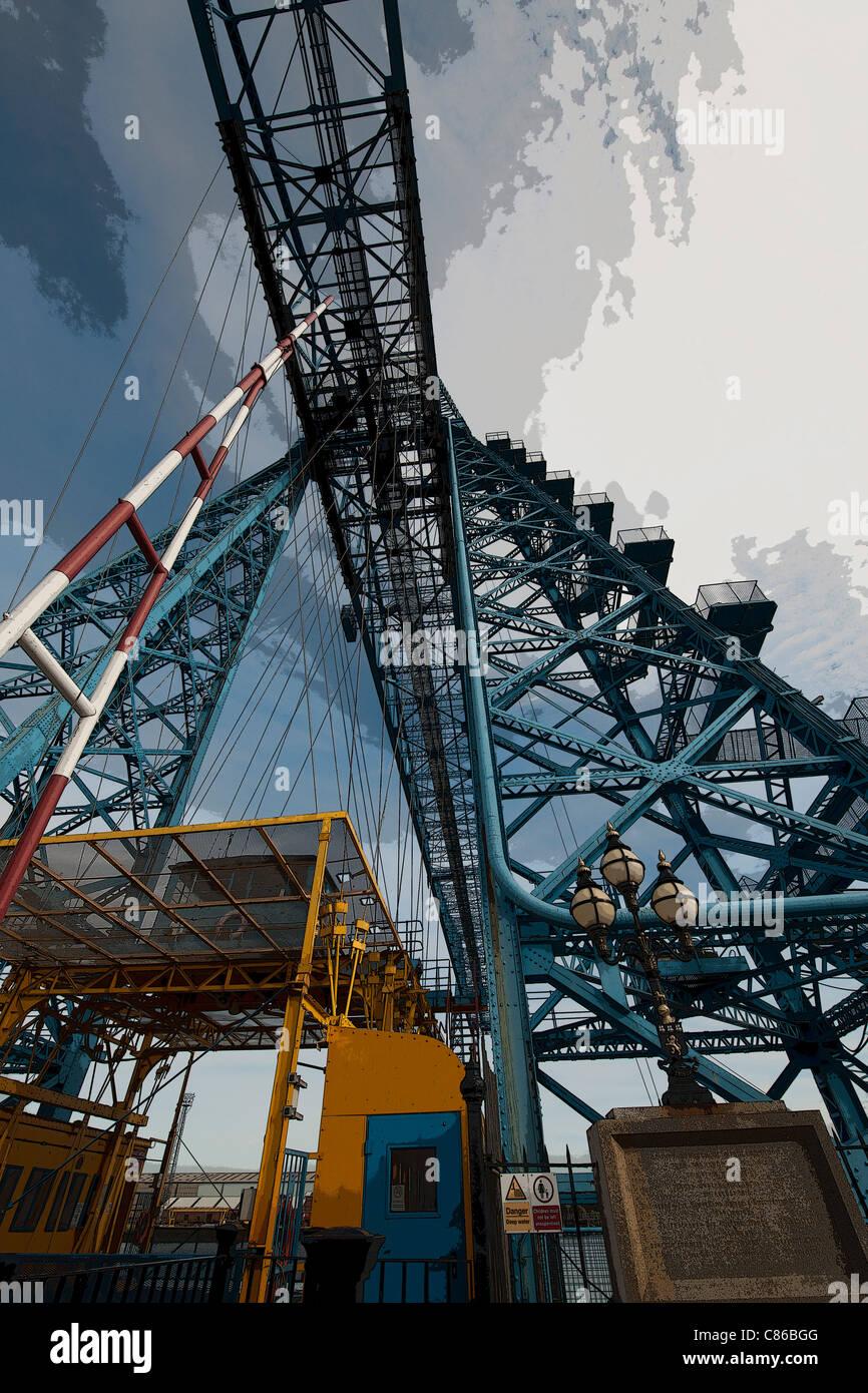 Unusual view of Transporter Bridge, Middlesbrough, Teeside, England, UK - Stock Image