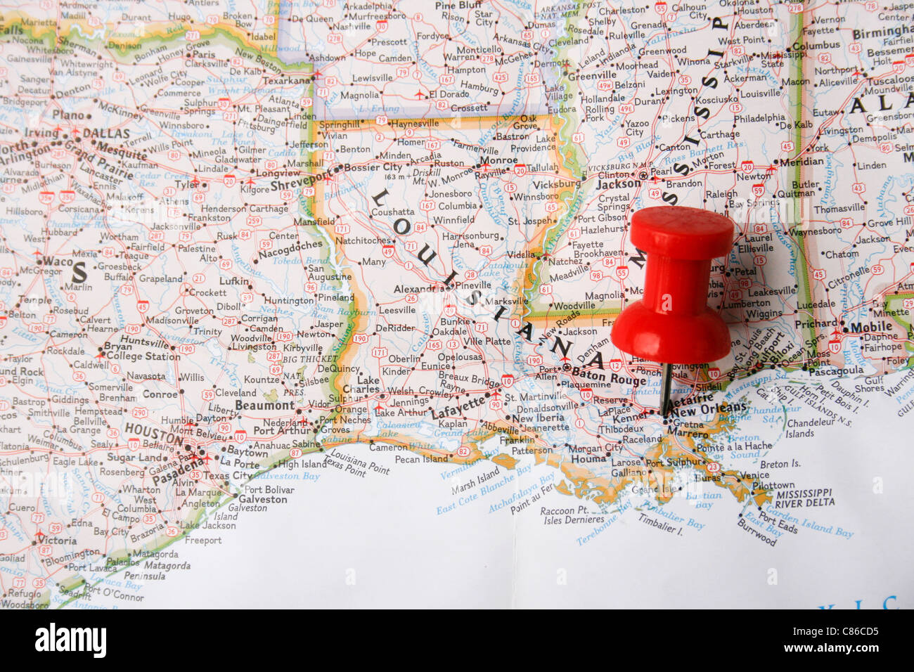 Louisiana New Orleans Map.Red Pin On Map Of Usa Pointing At New Orleans Louisiana Stock Photo